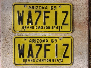 Mary Brown's 1969 AZ car tags.